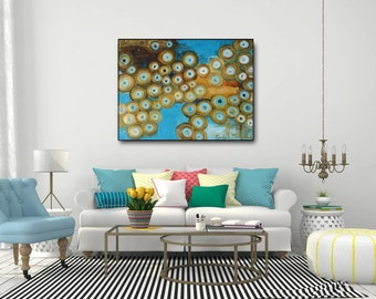 "Turquoise Gold Abstract painting,oil  painting paper 15""x11"" aqua blue metallic gold modern wall art,teal blue home decor,gold teal abstract"