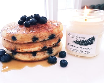 Blueberry Pancakes Soy Candle, All Natural Soy Candle, 10oz, The Bakery @ The Ruffled Feather Candle Co.