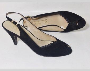 Bruno Magli Italian Leather Pumps | Vintage 1960s Scalloped Peep Toe Slingback Heels | Size 7-1/2 AAA Extra Narrow
