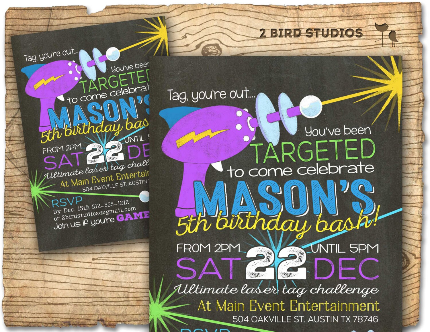 Laser tag invitation Chalkboard laser tag birthday