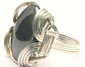 Handmade Sterling Silver  Wire Wrap Hematite Ring