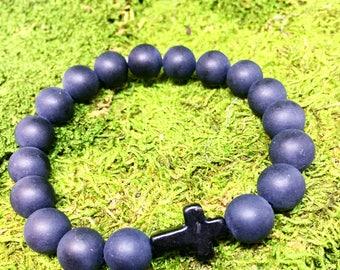 "Cross bracelet - men ""Cross"" stretch braclet with matte black onyx beads"