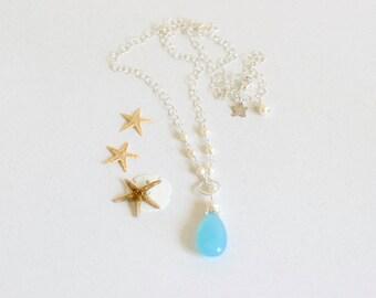 Chalcedony Pendant Necklace, Aqua Blue, Pendant Necklace, Sterling Silver, Delicate Necklace, Pearl Chain Necklace, Laguna I