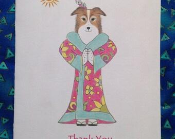 Dog Yoga  - Yoga Dog in Kimono Thank You Card - Blank Card