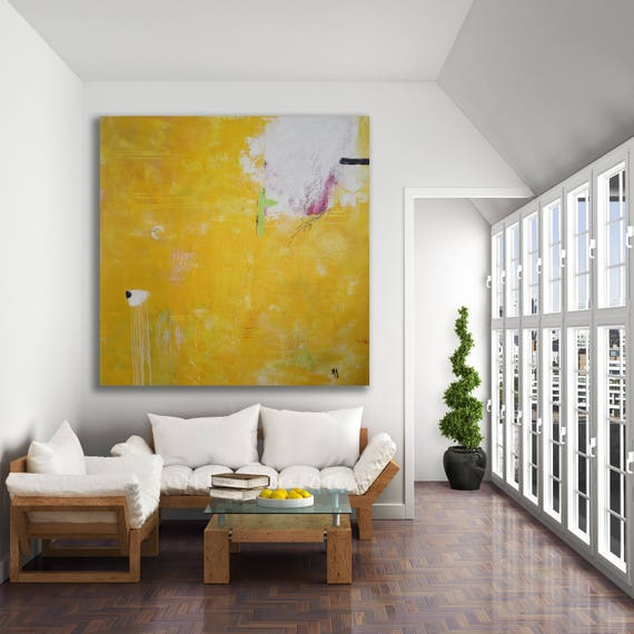 Texture Painting Yellow Abstract Art / Oversized Abstract Art