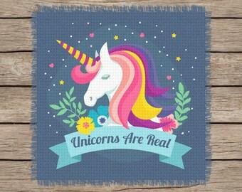 Unicorns Are Real! Cross Stitch, Crochet, Knitting Graph