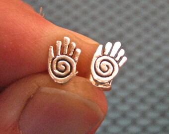 Vintage 925 Sterling Silver Hand Stud Earrings