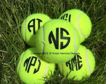 Monogram Personalized Custom Tennis Balls Set of 3
