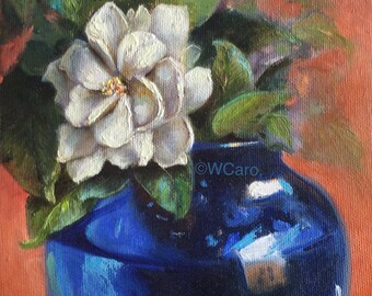 Gardenia in blue vase original oil painting, framed 6x6