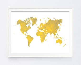Mustard and grey etsy yellow gray world map print mustard and grey world map wall art gold and shadows of grey triangle wall art instant download gumiabroncs Gallery
