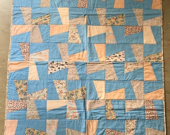 "Patchwork ""Peaches & Sky"" quilt"