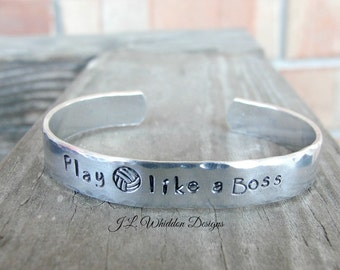 Play Volleyball Like A Boss - Like A Boss Bracelet - Volleyball Gifts - Volleyball Bracelet - Volleyball Coach - Hand Stamped Bracelet