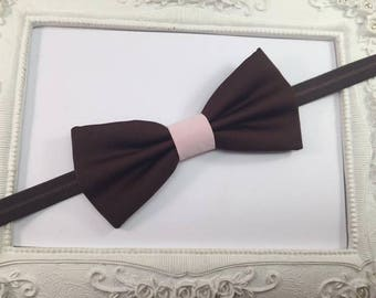 Bow tie chocolate brown and pale pink - children