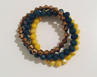 Bracelets trio yellow, green and brown crystal glazed