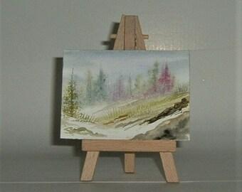 aceo landscape watercolour painting (ref E176)