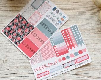 Coral Flower Happy Planner Weekly Kit; Vinyl Matt; Planner Stickers; Decorative Stickers; Functional Stickers; Summer Kit; Flower; Mini Kit