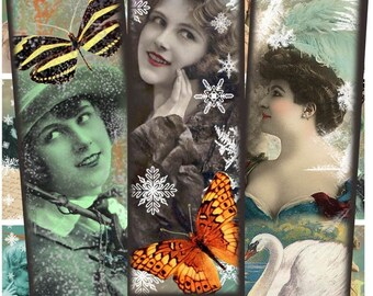 Cool Wintery Ladies Collage Sheet - 1 x 3 Inch Rectangles