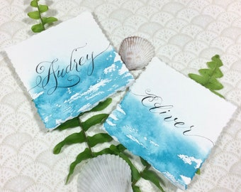Watercolor Place Cards - Calligraphy Place Cards - Beach Wedding - Wedding Escort Cards - Aqua Blue - Light Blue -