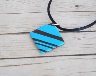 Polymer clay Brown and turquoise diamond necklace