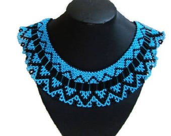 Beautiful blue black necklace Gift for her Modern tribal necklace Beadwork Bohemian beaded jewelry Indian jewelry Native american jewelry