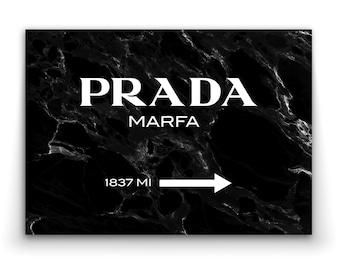 PRADA MARFA Black Marble - Art Print Poster Canvas