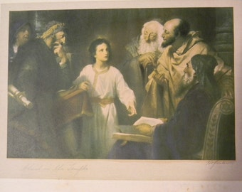 Heinrich Hofman . signed . Vintage  Antique Religious print - Christ in the Temple