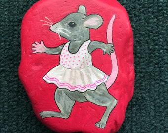 Dancing mouse painted rock paperweight