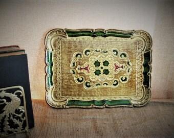 Vintage Italian Florentine Tray  Beautiful Gold, Green, Red, Florentine Tray VINTAGE Rectangular Florentine Tray