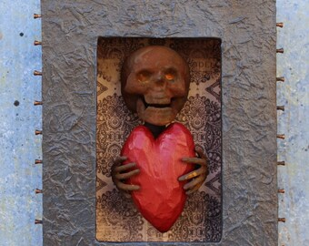 Assemblage Art Shrine Found Objects Shadow Box Skeleton and Heart