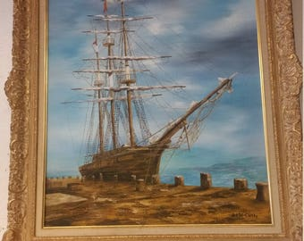 Art McCarthy Signed Oil Painting Old Ship
