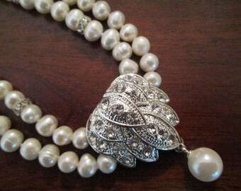 Bridal necklace, genuine cultured pearls bridal necklace. Swarovski crystals bridal necklace. CHELSEA.