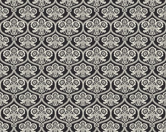 Black Damask Fabric, Happy Haunting, Riley Blake C4671 Damask Black, Deena Rutter, Black & Cream Damask Halloween Quilt Fabric, Cotton
