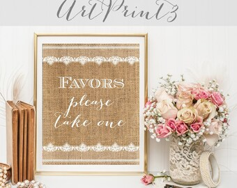 Favors Please Take One Wedding Sign Printable, Rustic Wedding Favors Sign Printable, Burlap&Lace Favors Sign, Favor Table Sign