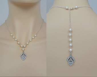 Bridal Crystal Necklace, Swarovski Pearls, Wedding Jewelry, Backdrop, Sterling Silver Chain & Clasp, Tammy - Will Ship in 1-3 Business Days