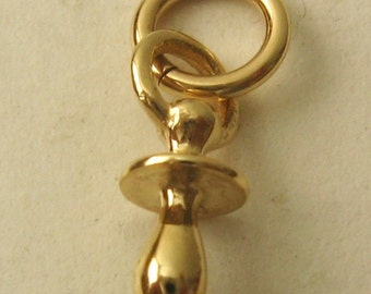 Genuine SOLID 9K 9ct YELLOW GOLD 3D Baby Dummy charm/pendant