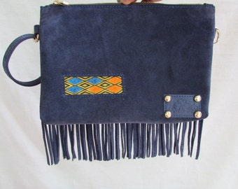 leather clutch, fringe clutch, Purple leather Evening bag, leather pouches, women's wallet, Evening clutch, large wallet