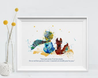 The Little Prince Art Print Watercolor Poster Only With The Heart Quote Le Petit Prince and Fox Principito Art for Kids Art Wall (Nº17)