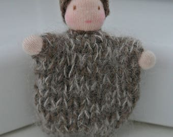 Small knitted bulb child / seed baby in Steiner Waldorf style