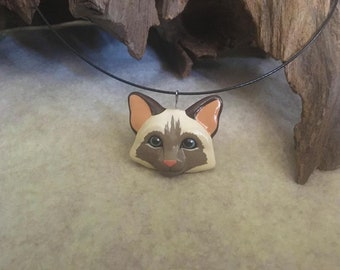 Polymer Clay Siamese Cat Necklace Pendant