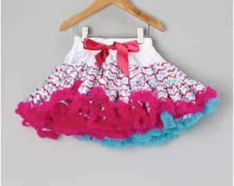 Girls Gorgeous Chevron Full and Fluffy Layers Premium Petti Skirt- Watermelon, White and Turquoise-SALE