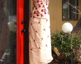 CUSTOM Wrap Around Gown, Beige Cotton Embroidered with Merlot Flowers
