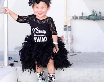 SWAN, High low feather tutu, baby feather tutu, black feather tutu, high low tutu