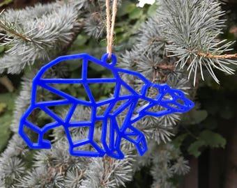 Blue Geometric Polar Bear | Acrylic | Perspex | Plastic | Laser Cut | Christmas | Tree Decoration | Ornament | Ornaments