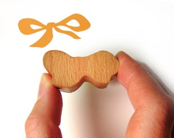 Ribbon Bow Rubber Stamp with Wooden Handle
