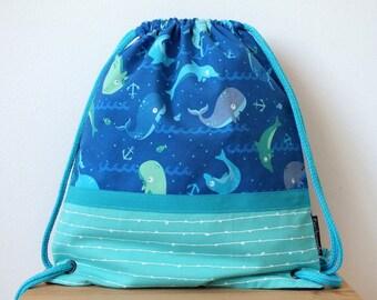 Mochila ballenas, delfines, animales marinos,  bolsa con cordón, bolsa para verano