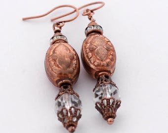 Boho Chic Copper Earrings, Czech Glass Earrings, Rustic Copper and Crystal, Sparkle Earrings, SRAJD, Copper Jewelry Gift Boxed for her