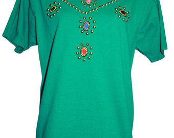 Get Lucky by Marcel Fashions Womens Size 16-18 Embellished Top Tee Shirt  Green