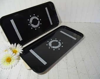 Rectangular Trays Set of 2 Vintage Black & White Enamel Porcelain Over Heavy Metal with Art Deco Design - Shabby Chic / BoHo Bistro Display