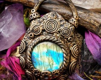 Magic mirror collection - ooak hand sculpted bronze finish filigree labradorite pendant, boho witch talisman necklace