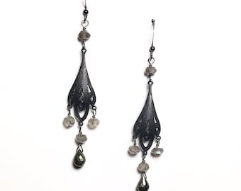 Labradorite and Pyrite Art Deco Earrings